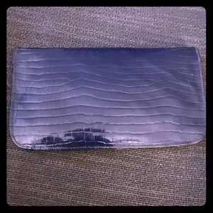 Vintage blue croc printed clutch